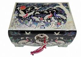 Mother of pearl wood  trinket jewelry box jewel case organizer crane black - €242,93 EUR