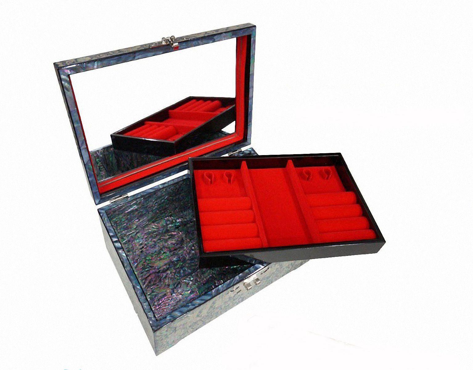 Mother of pearl trinket jewelry box jewel case organizer peony flower black