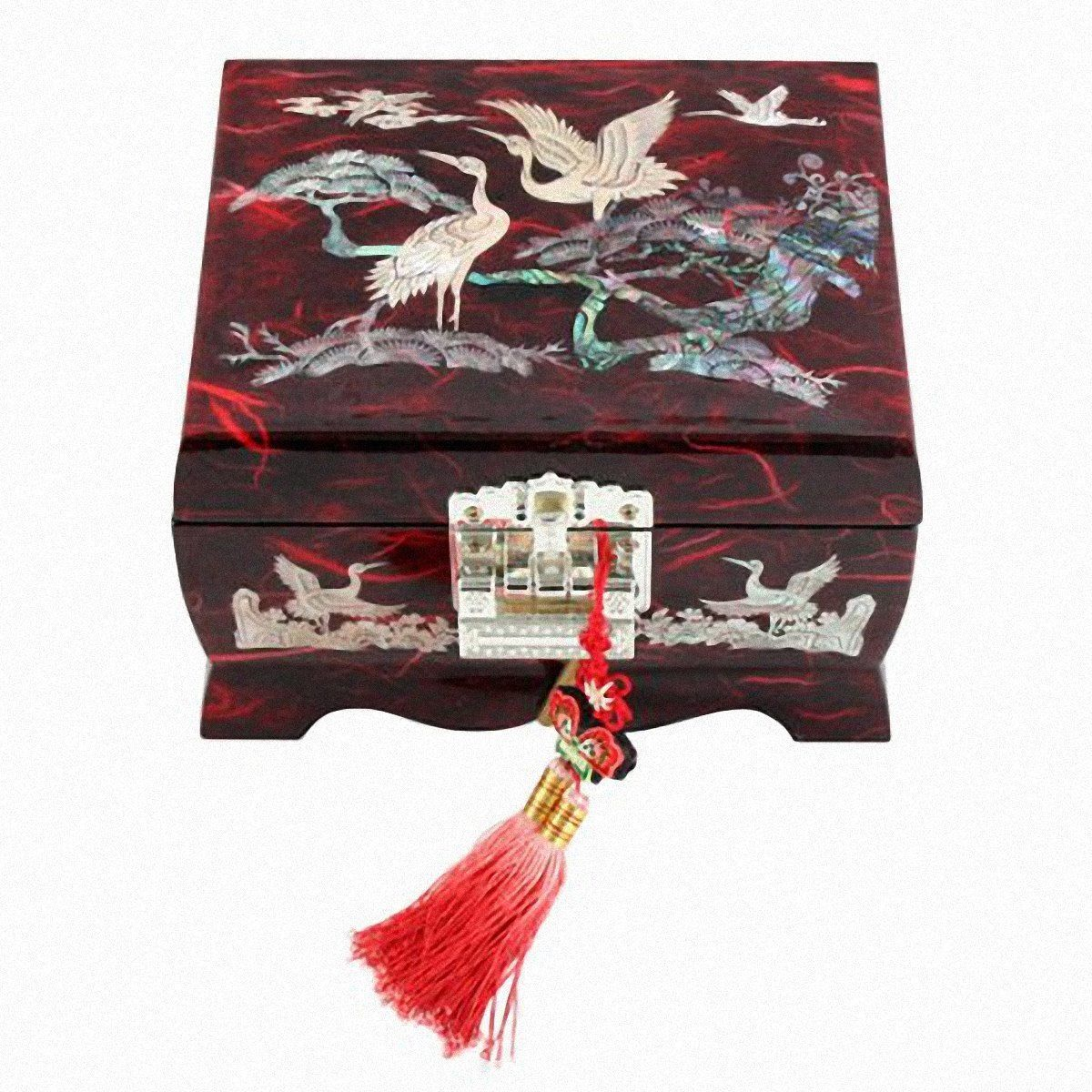 Jewelry Box Wood Jewel Case Organizer Ring Music Chest Box  Crane 5 Colors(B)
