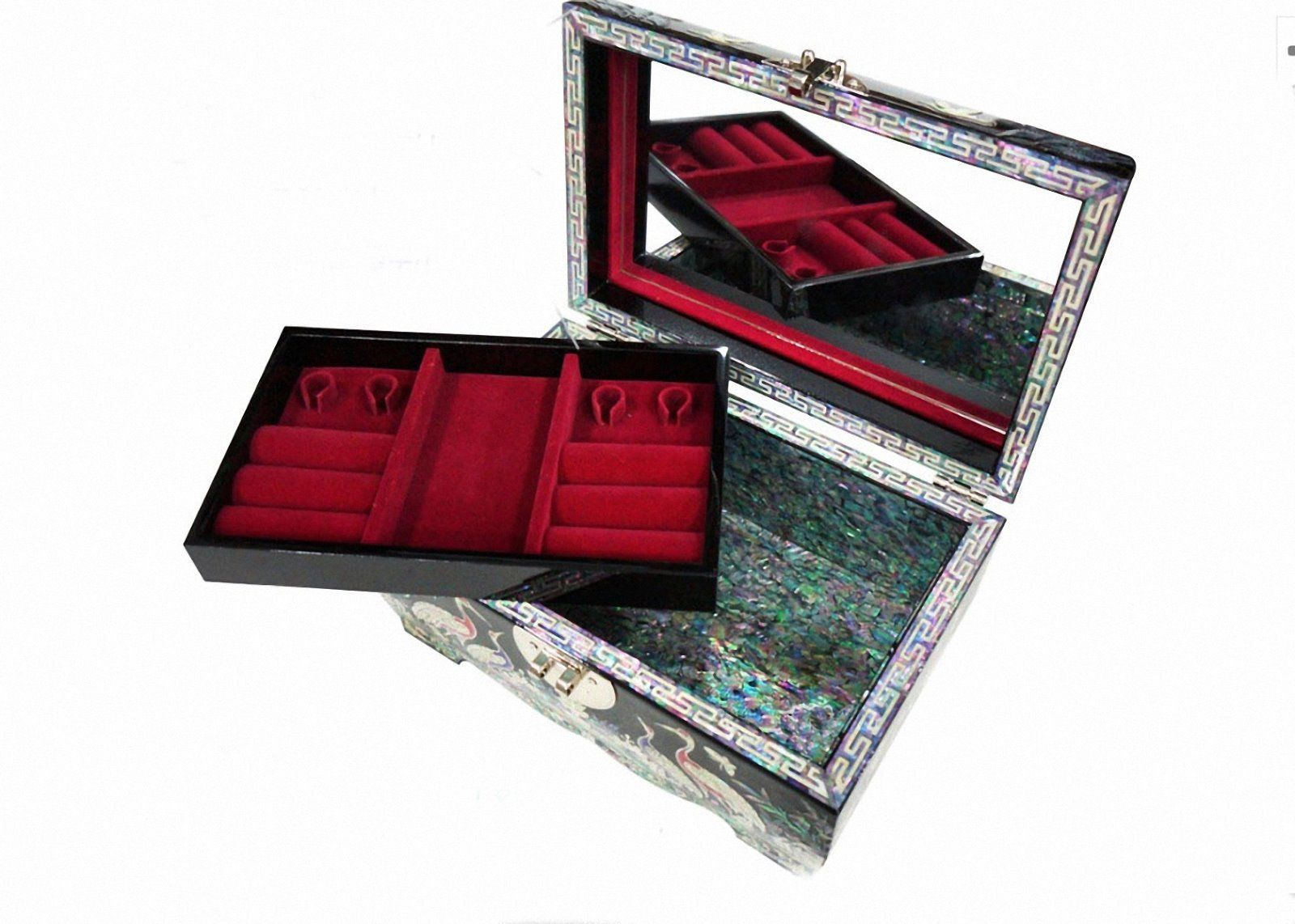 Mother of pearl wood  trinket jewelry box jewel case organizer crane black