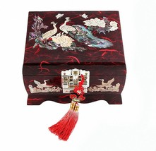 Jewelry Box Wood Jewel Case Organizer Ring Music Chest Box  Peacock 5 Co... - €72,26 EUR