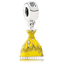 925 Sterling Silver Belle Dress Dangle Pendant Disney Charm Bead 506 - $22.99