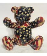 Patriotic Teddy Bear Bank Ceramic - $31.18