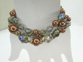 Kramer Beaded Bracelet Iridescent Brown Blue Gold 47279 Purple - $59.39