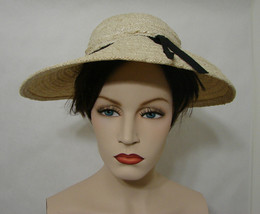Vintage James Galanos White Horsetail Braided Straw Hat with Black Ribbo... - $134.99