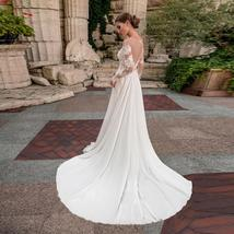 Sexy Bohemian Sheer O Neck Long Sleeve Lace Applique Long Sleeve Chiffon Bridal