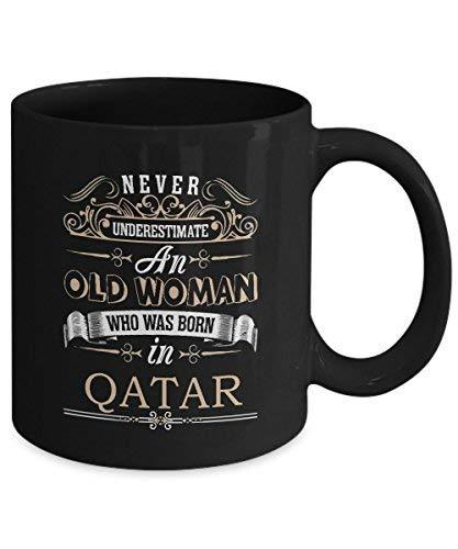 Primary image for QATAR Coffee Mug - Old Woman Who was born in QATAR Ceramic Mugs - Great QATAR Gi