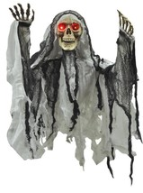 Skeleton Reaper Prop Animated Torso Hanging LightUp Eyes Haunted House V... - £50.95 GBP