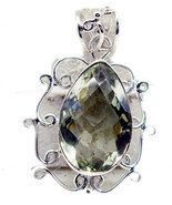 jaipur 925 Sterling Silver attractive Natural Green Pendant UK gift - $34.25