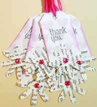 Handmade Thank You Tags, Flower Design Tags, Pink & Gray Tags With Paper... - $2.25