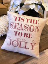 Christmas Pillow 12x12 rustic, jolly tis the season Xmas gift Home Santa... - $20.00