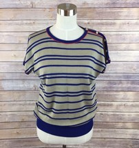 Emanuel Ungaro Women's Sz 9 Dolman Sleeve Beige Blue Striped Knit Top Bu... - $24.74