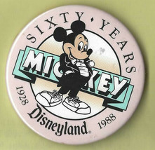 Disney - Button Pin Sixty Years - Disneyland - Mickey - 1928 - 1988 (44) - $7.42