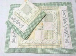 Waverly Embroidery Floral Gingham Green Yellow Patch 2-PC Quilted Standard Shams - $42.00