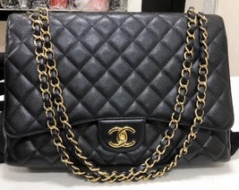 AUTHENTIC CHANEL BLACK QUILTED CAVIAR MAXI CLASSIC DOUBLE FLAP BAG GHW image 2