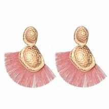 American Style Big Fan Shape Drop Earrings For Women Ethnic Irregular Go... - $4.52