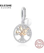 ELESHE Authentic 925 Sterling Silver Family Tree Of Life Charms Gold Bea... - $23.99