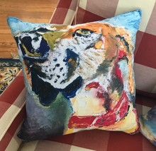 "Hound Dog Throw Pillow 15.5""x15.5"" Art Home Filled Colorful - $49.45"