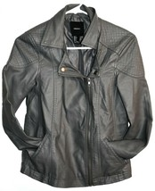 Forever 21 55879823 Dark Gray Faux Leather Motorcycle Biker Zipper Jacket Size S image 1