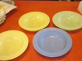 set of 4 vintage Hazel Atlas Pastel Platonite Fruit Bowl Yellow Blue Gre... - $24.74