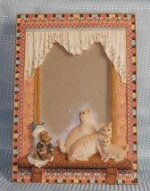 "Cats in a Window Picture Frame holds 5"" x 3.5"" Hand painted - $8.36"