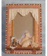 """Cats in a Window Picture Frame holds 5"""" x 3.5"""" Hand painted - $8.36"""