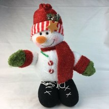 Christmas Decoration Snowman Plush Weighted Standing Waving 10 Inches Tall - $16.45