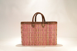 Hand woven market basket. Medium. Fuscia/Natural Stripe.  - $46.00