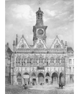 ARCHITECTURE PRINT : FRANCE Town Hall at St. Quentin Exterior View - $21.60