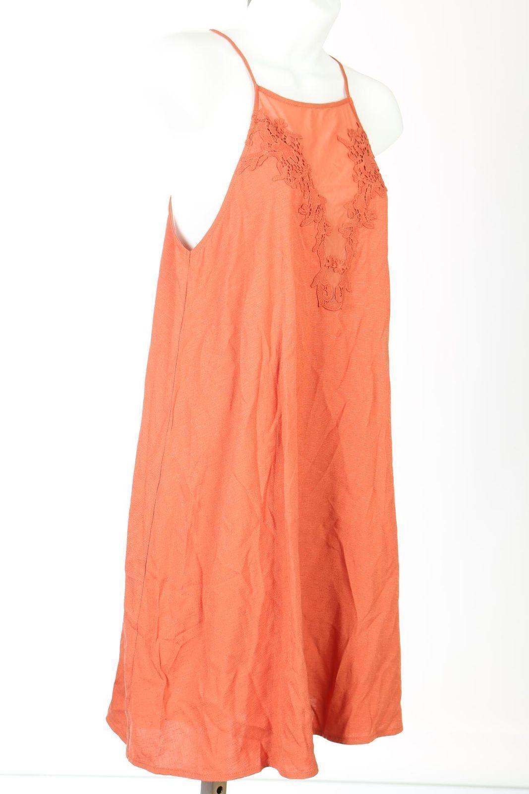 Lush Mixed Media Square Neck Shift Dress Orange Sz Medium M NWOT B52