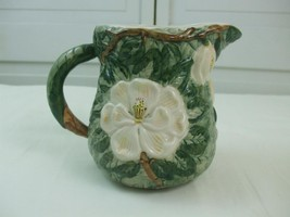 1996 Green White Magnolias Floral Pottery Water Pitcher Jug Vase 48oz - $29.65