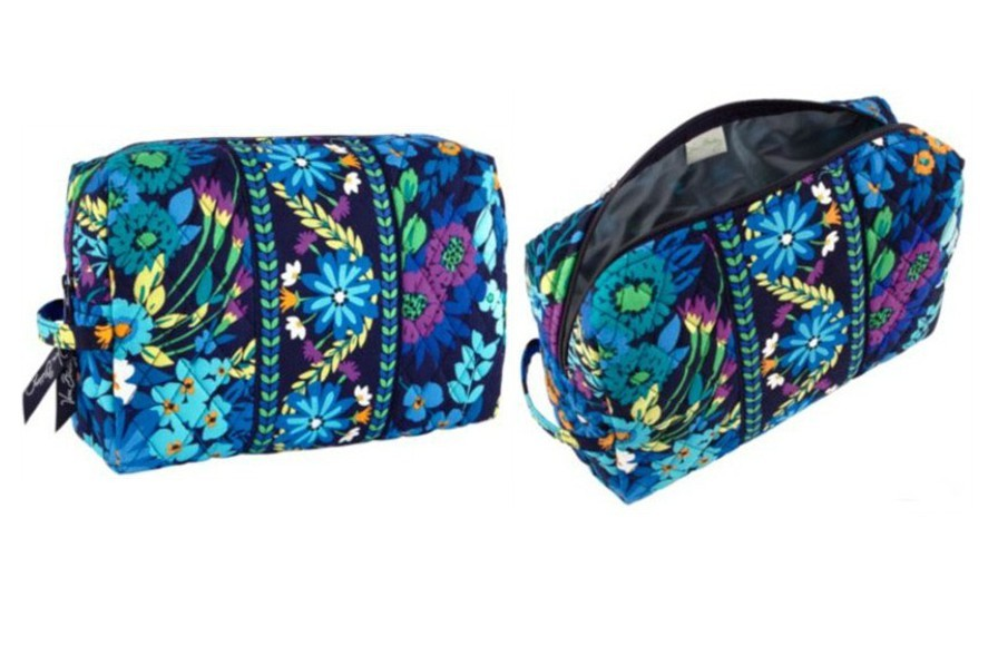vera bradley large cosmetic bag in midnight blues
