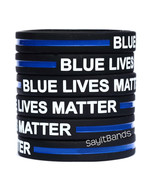 5 BLUE LIVES MATTER Thin Blue Line Wristband Bracelet Police Support Adu... - $6.88