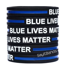 One Hundred (100) BLUE LIVES MATTER Thin Blue Line Wristbands - Police Support - $46.41+