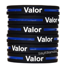 One Hundred (100) VALOR Thin Blue Line Wristband - Show Police Support - $48.88
