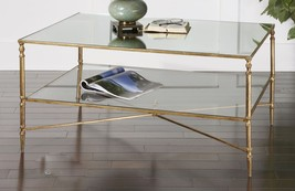 Horchow Gold Iron Hollywood Regency Glass Coffee Table New - €451,06 EUR