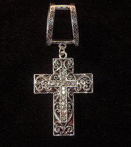 NWT WOMEN'S SILVER SCARF RING W/BLACK & SILVER FILIGREE CROSS-CRYSTAL CE... - $14.11