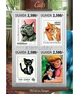 UGANDA 2014 2013 STAMP ON STAMP CATS ANIMALS CHAT MAMMALS 1 IMPERF * 163... - £23.64 GBP