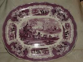"RARE 1830-40s Staffordshire 15"" Serving PLATTER ADAMS Palestine Mulberry... - $425.00"