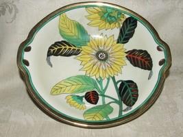 1918-40 Noritake Bowl #N 3183 Sunflower & Leaves Gilt Magenta M in Wreath Mark - $35.00