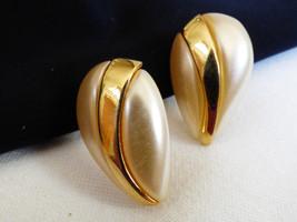NAPIER ELEGANT GOLD TONE WHITE PEARL FAUX TEARDROP EARRINGS - $20.79