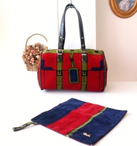 Roberta Di Camerino Classic 1976 velour boston handbag and pouch - $500.00