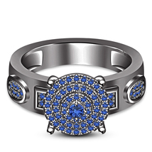 Women's Engagement Ring 14k Black Gold Plated 925 Silver Round Cut Blue Sapphire - $90.30