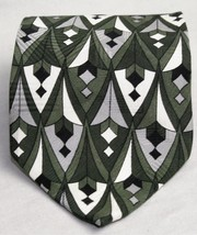 Zylos by George Machado 100% Silk Neck Tie Geometric  Shades of Olive - $7.43