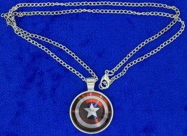 Captain America Shield Necklace Steve Rogers Avengers Chain Style Length... - $4.99+