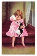 Girl Bottle Feeding Kitten Cat Sharing a Meal Vintage 1906 James Lee Co ... - $7.99
