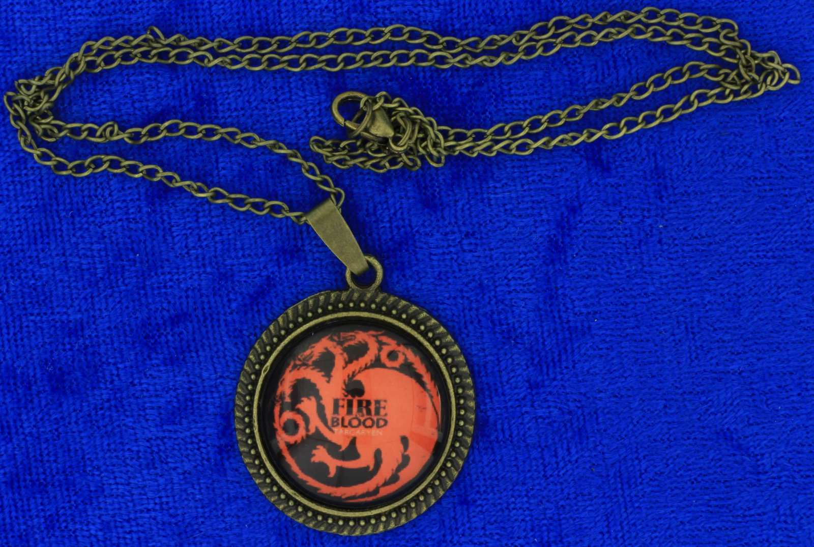 Targaryen fire   blood dragon cabochon necklace bronze