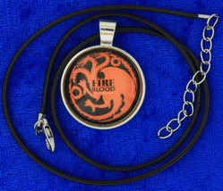 Targaryen fire   blood dragon cabochon necklace silver choker thumb200