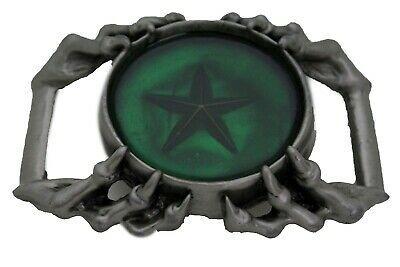Camionneur Homme Biker Boucle Ceinture Métal Argent Aigle Griffes Vert Texas image 3