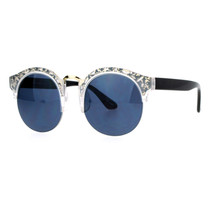 Womens Round Half Rim Sunglasses Layered Die Cut Design Top UV400 - £9.29 GBP